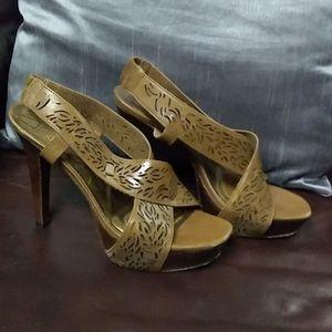 Leather high heel sandals